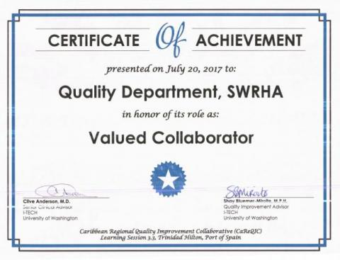 Certificate Of Achievement For Qi Department  Southwest Regional